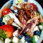 Sumac Chicken and Fresh Berry Salad W/ Blue Cheese, Crispy Shallot and House-Made White Balsamic Vinaigrette