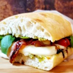 Bacon Caprese Sandwich W/Balsamic Glaze and House-Made Pesto
