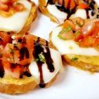 Bruschetta Crostini W/ Whole Milk Mozzarella And Balsamic Glaze