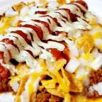 Hot Dog Chili Pie Burrito W/Cilantro Aioli And Red Sauce