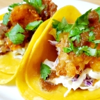 Spicy Orange Coconut Shrimp Tacos W/ Classic Slaw And House Made Salsa