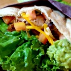Simple Chicken Fajita Pita W/ Caramelized Onions And Smashed Avocado