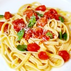 Simple Date-Night Linguine W/ Sautéed Tomatoes And Fresh Picked Basil
