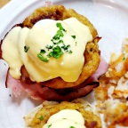 Twisted Crab Cake Eggs Benny