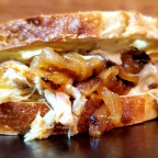 Roast Chicken, Muenster and Housemade Caramelized Onions on Sourdough w/ Jalapeño-Ranch Sauce