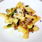 Rigatoni W/ Sweet and Spicy Sausage, Zucchini and Olives
